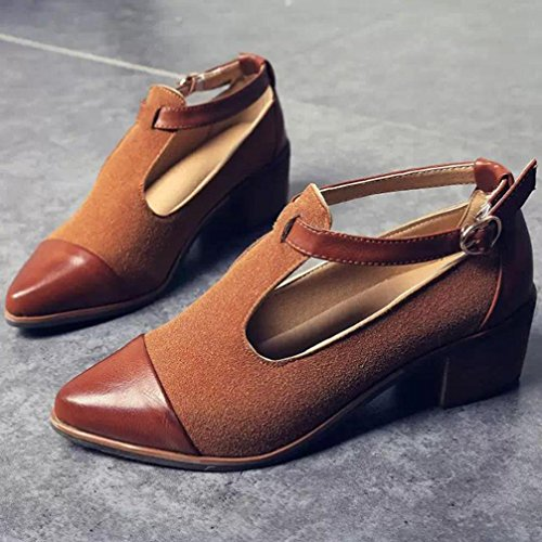 Yogogo Vintage femmes pointues talon talon coupé Patchwork Buckle chaussures talon compensé Marron
