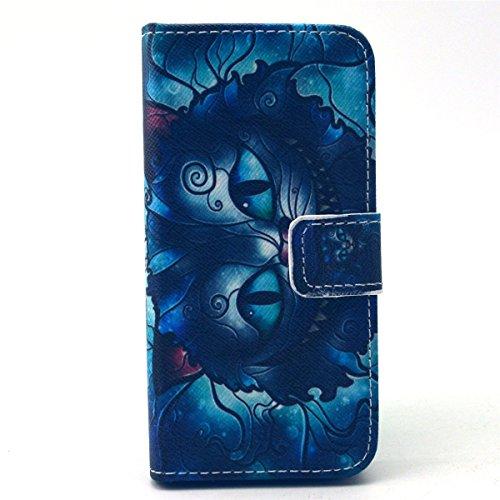 iPhone 5S Coque, iPhone 5 Coque, Lifeturt [ Colorful Mandala Flower ] Coque Dragonne Portefeuille PU Cuir Etui en Cuir Folio Housse, Leather Case Wallet Flip Protective Cover Protector, Etui de Protec E02-chat bleu1993