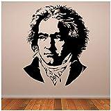 azutura Beethoven Wandtattoo Klassische Musik Wand Sticker Ikone Berühmtheit Wohnkultur verfügbar in 5 Größen und 25 Farben Klein Silber Metallic