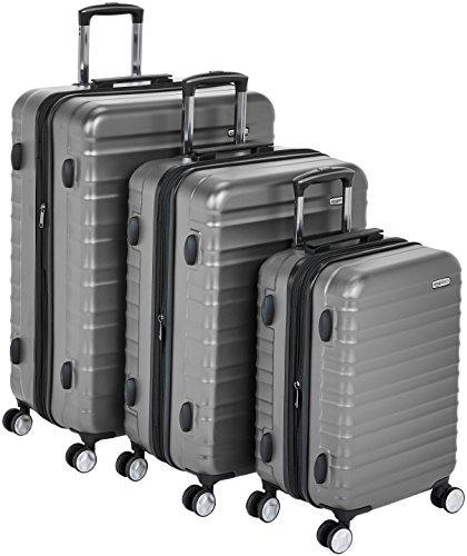 AmazonBasics - Hochwertiger Hartschalen-Trolley mit eingebautem TSA-Schloss und Laufrollen, 3-teiliges Set (55 cm, 68 cm, 78 cm), Grau