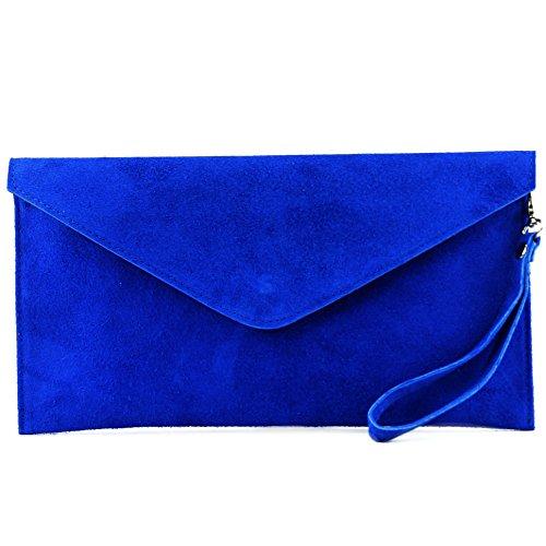 modamoda de - T106 - ital Clutch/Abendtasche aus Wildleder, Farbe:Königsblau -