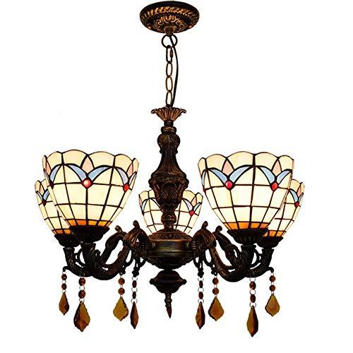 MTCTK Vintage Multi-bewaffnete Tiffany-Stil Kronleuchter aus Glas Anhänger Lampe Dekoration Hängelampe 5 Lichter - Magnolia Glas-anhänger