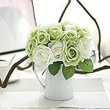 Gaddrt 1Bouquet 9Capi di Seta Artificiale Foglia Rosa Matrimonio Decorazione Floreale Bouquet di Fiori Finti Green
