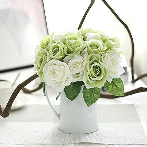 Bouquet de roses artificiel, Tianranrt 9têtes Fleurs Artificielles en soie Faux Feuille Rose Mariage Décor floral Bouquet