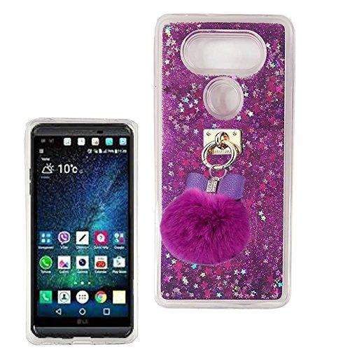 Für LG V30Fall, LG V30Plus Liquid Fall, babemall für Mädchen Frauen [Glänzende Sterne Serie] beweglichen Quicksand Klar TPU Flexible glänzend Fall, Ball Pendant/Purple - Liquid Fall