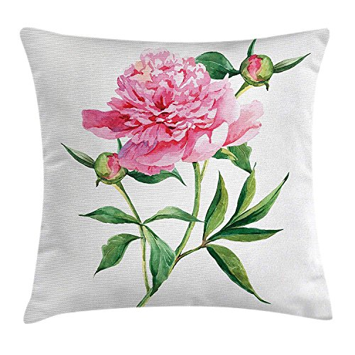 K0k2t0 Nature Throw Pillow Cushion Cover by, Vintage Peony Painting Botanical Petite Spring Flower Nature is Goddess Art, Decorative Square Accent Pillow Case, 18 X18 Inches, Pink White Green Petite Fringe