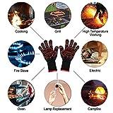 Guanti grigliati DINOKA Guanti da forno 1432 ° F Guanti resistenti al calore estremi Guanti da barbecue Accessori da cucina Protezione dell'avambraccio per cucinare, grigliare, cuocere (Rosso)