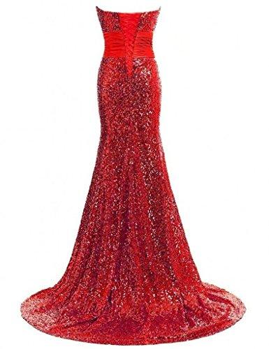 Charmant Damen 2017 Neu Rosa Pailletten herzausschnitt Abendkleider Partykleider Promkleider Meerjungfrau Rot