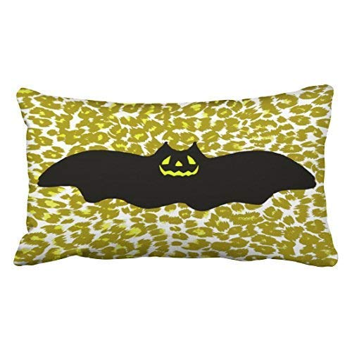 ween Bat On Golden Leopard Spots Throw Pillow Covers Cushion Cover Case 20X30 Inches Pillowcases Two Side ()