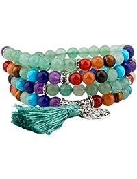Shanxing Bracelet/Collier Mala 108 Perles en Pierre Bouddhistes Pierres Tibétain Chinois Noeud Homme,Femme