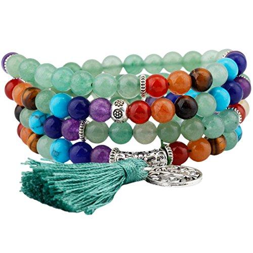 Shanxing 108 Perlen Edelstein Yoga Armband Schmuck Buddha Buddhistische Tibetische Gebetskette Mala Kette Halskette,7 Chakra & Grüne Aventurine