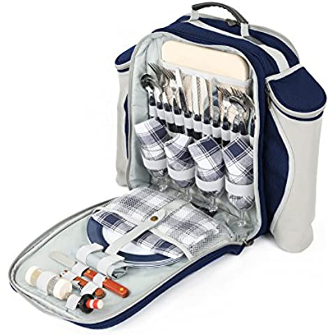 Greenfield Collection Deluxe–Mochila de picnic Hamper para cuatro personas en azul marino–Bajera mochila gama