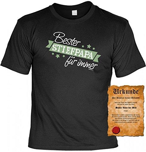 rohuf Design T-Shirt Set Urkunde - Bester Stiefpapa für Immer - Witziges Spruchshirt Als Geschenk für Stiefvater Vatertag Geburtstag, Größe:4XL