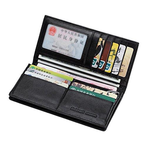 Portafoglio Donna in Vera Pelle con la Tecnologia RFID Blocco Carta di Credito Holder Bifold Soldi Lunghi dell'organizzatore Della Borsa - Portafoglio Rosso per Ragazza L-nero