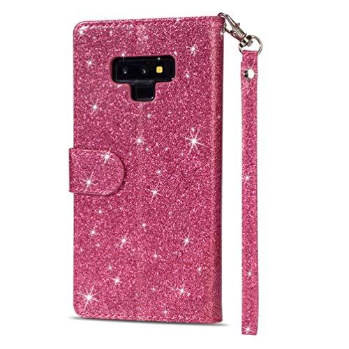 LaVibe Coque Samsung Galaxy Note 9, Housse en Cuir PU Leather Etui Portefeuille à Rabat Glitter Clapet Support Fermeture éclair Porte Video Stand, Flip Wallet Protective Case Cover–Rose Rouge