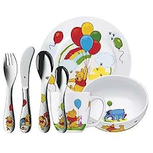 WMF Kindergeschirr-Set 7-teilig Winnie the Pooh Cromargan Edelstahl Rostfrei 18/10 poliert ab 3 Jahre geeignet