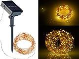 Lunartec Licht: Solar-Lichterkette aus Kupferdraht, 200 warmweiße LEDs, 8 Modi, 20 m (LED-Solar-Lichterketten Außen)