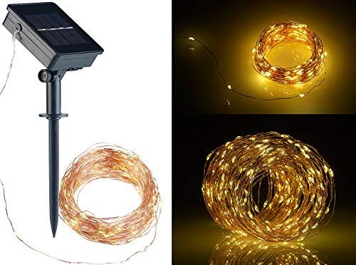 Lunartec Solar Lichterkette Draht: Solar-Lichterkette aus Kupferdraht, 200 warmweiße LEDs, 8 Modi, 20 m (Drahtlichterkette)