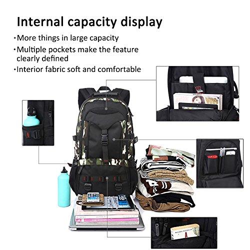 FANDARE School Scuola Escursionismo Alpinista All'aperto Campeggio Zaino MacBook Notebook Computer Portatile Laptop 17'' Pollici Borsa Oxford Polyester Army Green Camo