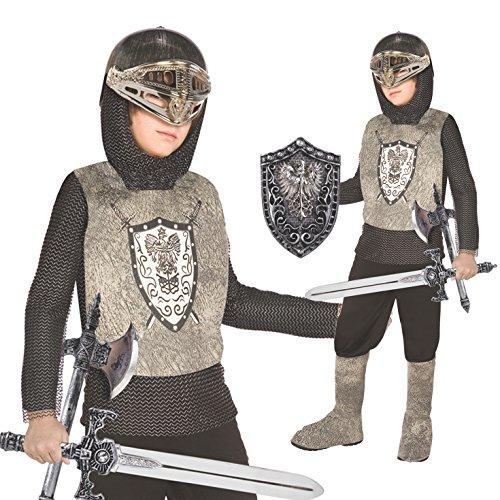 Morph Kinder Mittelalterlicher Ritters Kostüm Silberner Drachentöter Für Parteien und Karneval - Klein (3 - 5 Jahre)