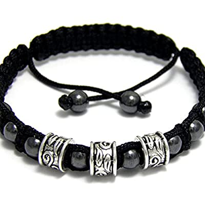 Taille 19-20cm Bracelet Homme/Men's Style Shamballa Perles Hématite noir Métal couleur argent vieilli Aspect Antique style tibétain fait main BRAPRIMER15