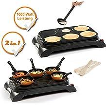 WOK - Plancha eléctrica para wok y para hacer tortitas (con 6 sartenes para wok y espátulas de madera, con recubrimiento antiadherente, para 6 personas)