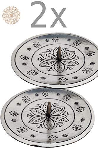 2er Set Orientalischer Kerzenständer Kerzenhalter Silber Jaini Rund 12cm Groß | Marokkanischer Metall Kerzenleuchter für Taufe, Kommunion, auf Gedeckter Tisch als Tischdeko im Wohnzimmer 2 Stück