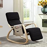 i-flair Relaxstuhl, Schwingstuhl mit verstellbarem Fussteil, Seitentasche, Antirutsch und Kopfschutz-Mütze - Schwarz
