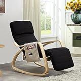Relaxstuhl, Schwingstuhl mit verstellbarem Fussteil, Seitentasche, Antirutsch und Kopfschutz-Mütze - Schwarz
