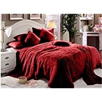 Luxe Soft Faux Fur Maroon Double Set Of 6-piece Solid Bedding Set King, Red, W 56.4 x H 52.2 x L 21.8 cm