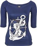 Küstenluder Damen Oberteil Sink Or Swim U-Boot Shirt Blau S