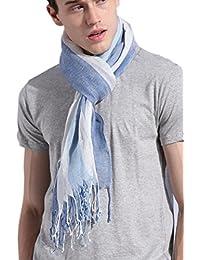 Prettystern - 200cm rayé écharpe 100% lin XXL style maritime Écharpes d'homme - sélection des couleurs