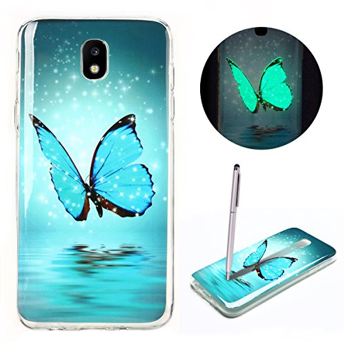 Cover Samsung J7 2017, CaseLover Custodia Nottilucenti Luminoso Gel Silicone per Samsung Galaxy J7 2017 J730 Sottile Fluorescente TPU Case Morbida Protettiva Copertura con Stilo Penna - Farfalla blu