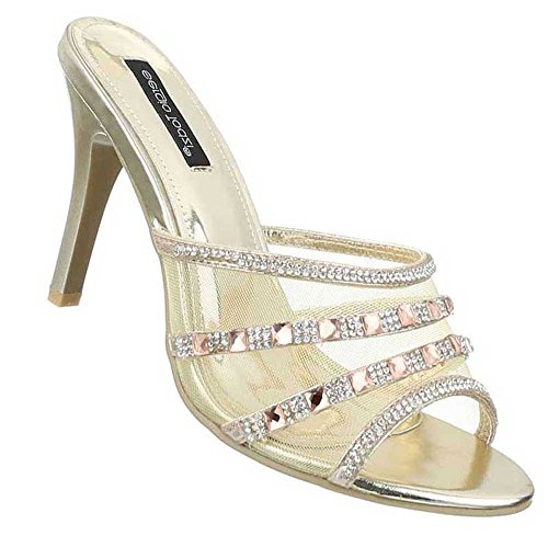 Damen Sandalen Schuhe Sandaletten Pantoletten Schwarz Gold