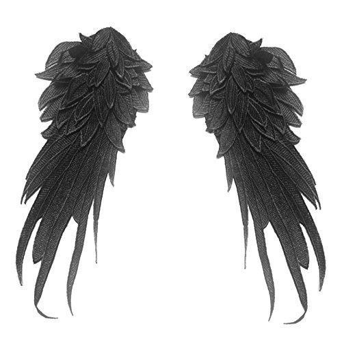 1 Paar Wicemoon Engel Flügel Spitze Schulter Venedig Stickerei Nähen Applique DIY Tuch Zubehör (Schwarz) -