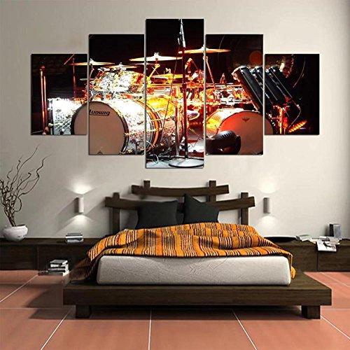 Inovey 5 Cascade L'Instrument Drum Scène Toile Mur Peinture Photo Décoration Sans Cadre Inc