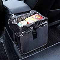 PowerTiger Car Rubbish Bin Hanging Auto Trash Bag Litter Container Water Resistant Leak Proof Collapsible Garbage Organiser, 6.5Ltr Capacity Black