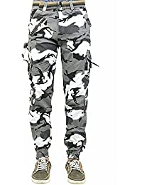 SmartLifestyle Army Men's White. Cotton Cargo Pants Camo Long Trousers With Belt