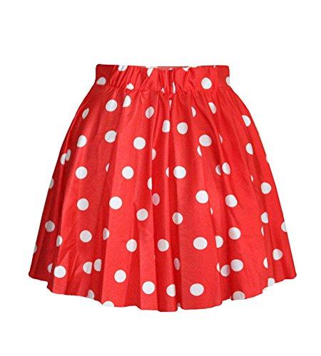 Molly Tutu Jupe Dot Short Mini Jupes Plissée Des Femme Rouge