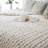 samLIKE Chunky gestrickte Decke dickes Garn Merino Wolle sperrige Stricken werfen 80x100cm (Beige)