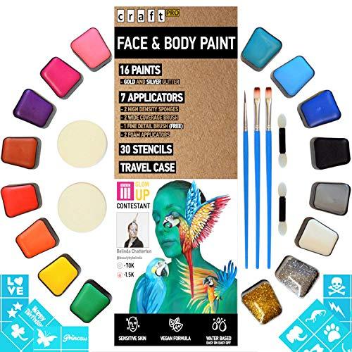 Kinderschminke Set - 52 teilig. Vegane Formel - für empfindliche Haut geeignet. (16 Gesichtsfarben, 6 Applikatoren, 30 Schablonen) - Gesichts- und Körperfarbe auf Wasserbasis