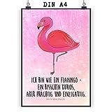 Mr. & Mrs. Panda Poster DIN A4 Flamingo classic - Flamingo, Einzigartig, Selbstliebe, Stolz, ich, für mich, Spruch, Freundin, Freundinnen, Außenseiter, Sohn, Tochter, Geschwister Poster, Wandposter, Bild, Wanddeko, Geschenk