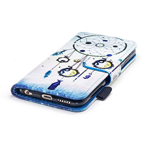 Custodia iPhone 6, iPhone 6S Cover Wallet, SainCat Custodia in Pelle Flip Cover per iPhone 6/6S, Ultra Sottile Anti-Scratch Book Style Custodia Morbida Cover Protettiva Caso PU Leather Custodia Libret Chimes del Vento Nazionale