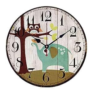 Smakeydirect Catoon Owl Animal Pattern Wall Clock Round