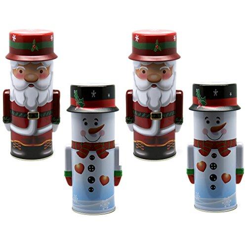 Bada Bing 4er Set Metalldose Schneemann Weihnachtsmann Keksdose Plätzchendose Weihnachtsdose Weihnachten Nikolaus 04