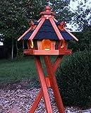 holzdekoladen Vogelhaus Typ 23 Verschiedene Farben, Solar Weiß u. Bunt Auch mit Ständer (VH mit Ständer mit Solar Weiß, Schwarz)