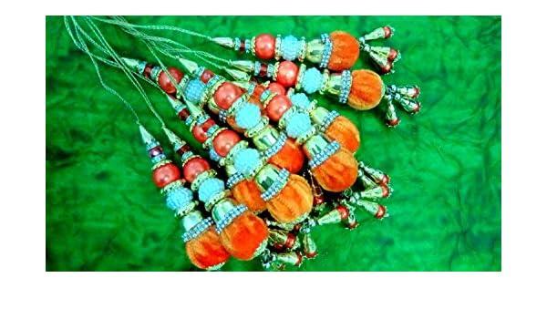 Tassel dress designing Bridal Blouse accessories cloth Tassel Cloth tassel Beaded Latken Sari Latken-Length 4 inches-Price for a Pair-IDLA55: Amazon.co.uk: ...