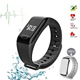 Fitness Tracker, F1 Smart Armband Armbanduhr Herzfrequenzsensor Smart Band Wireless Fitness Smart wctch Blut Druck Armbanduhr für Android iOS Handy, schwarz