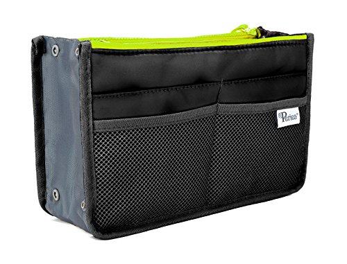 Organisateur de sac à main Periea - Chelsy - Noir avec zip au néon - 3 couleurs et tailles disponibles - Édition limitée (Noir avec Zip Néon Jaune, Pe...