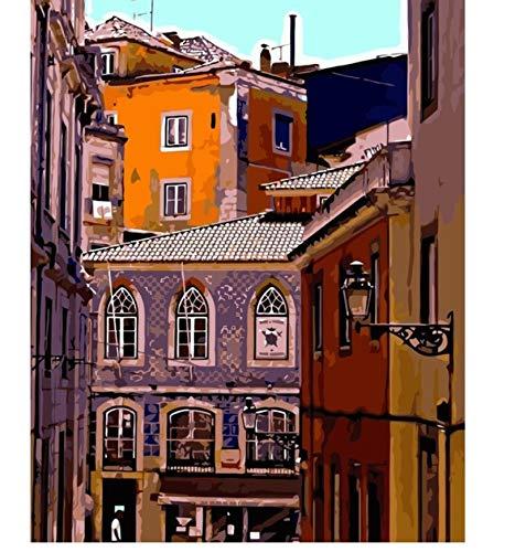 n-Portugal-Landschaftsmalerei durch Zahlen auf Segeltuch DIY-Öl-Digital-Farbe durch Zahl-Ausrüstungen für Hauptdekor 40X50Cm kein Rahmen ()